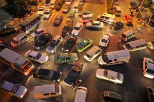 Gridlocked cars